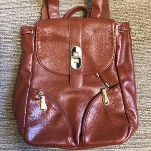 Handbags - Caramel Vegan Leather Everyday Boho Backpack